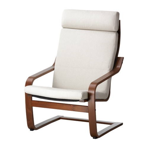 Ikea poang chair brown leather for Ikea poang leather