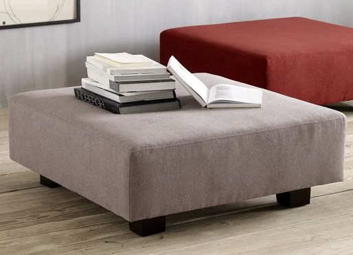 High Quality Soft Gray Upholstered Ottoman As A Coffee Table